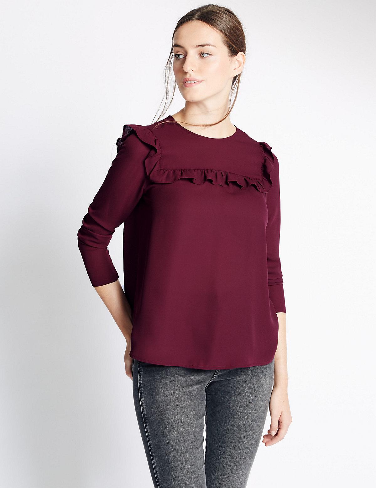 M&S Collection Long Sleeve Ruffle Yoke Blouse