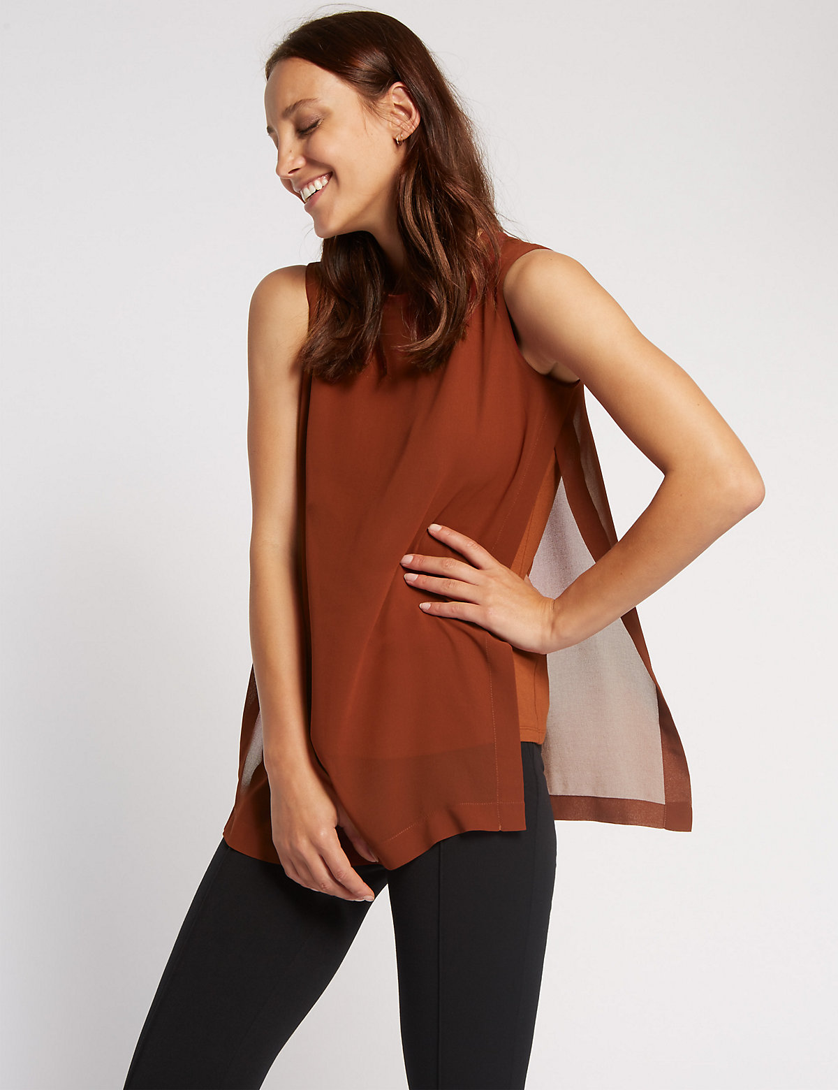 M&S Collection Ribbed Double Layer Vest Top