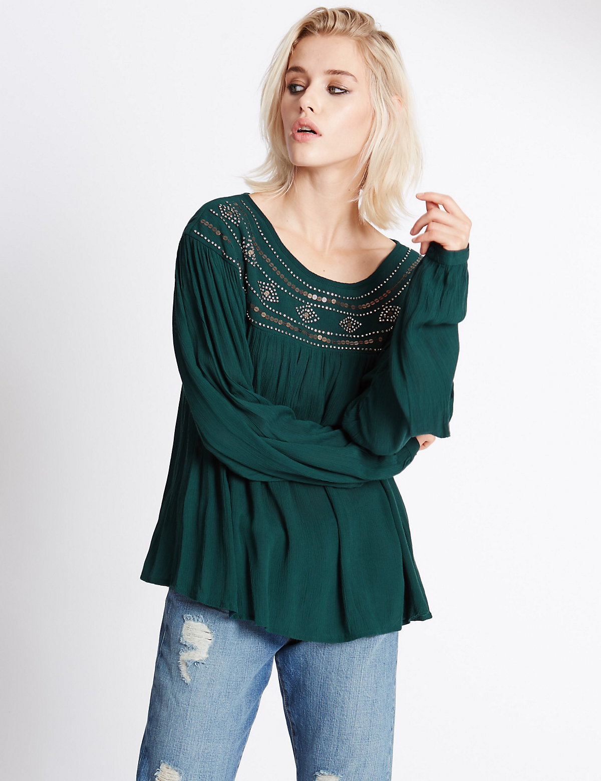 Indigo Collection Long Sleeve Beaded Yoke Blouse