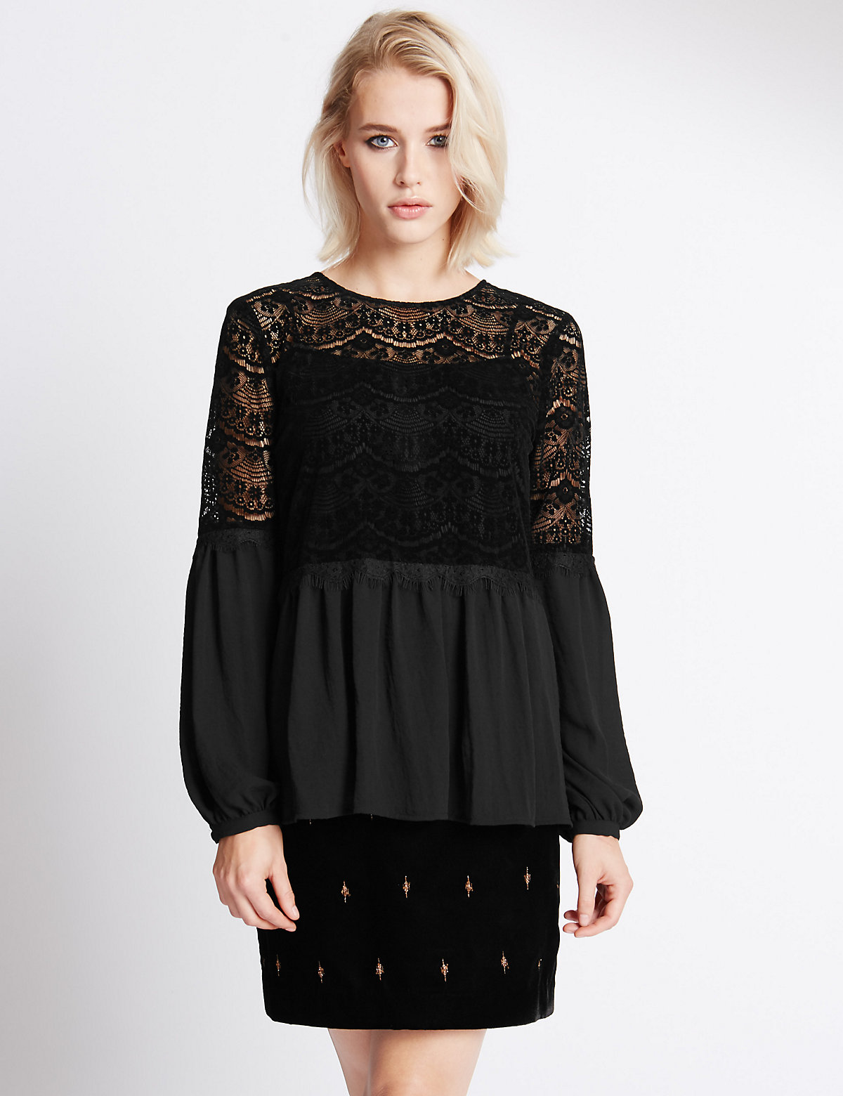 Indigo Collection Velvet Lace Blouse with Buttonsafe