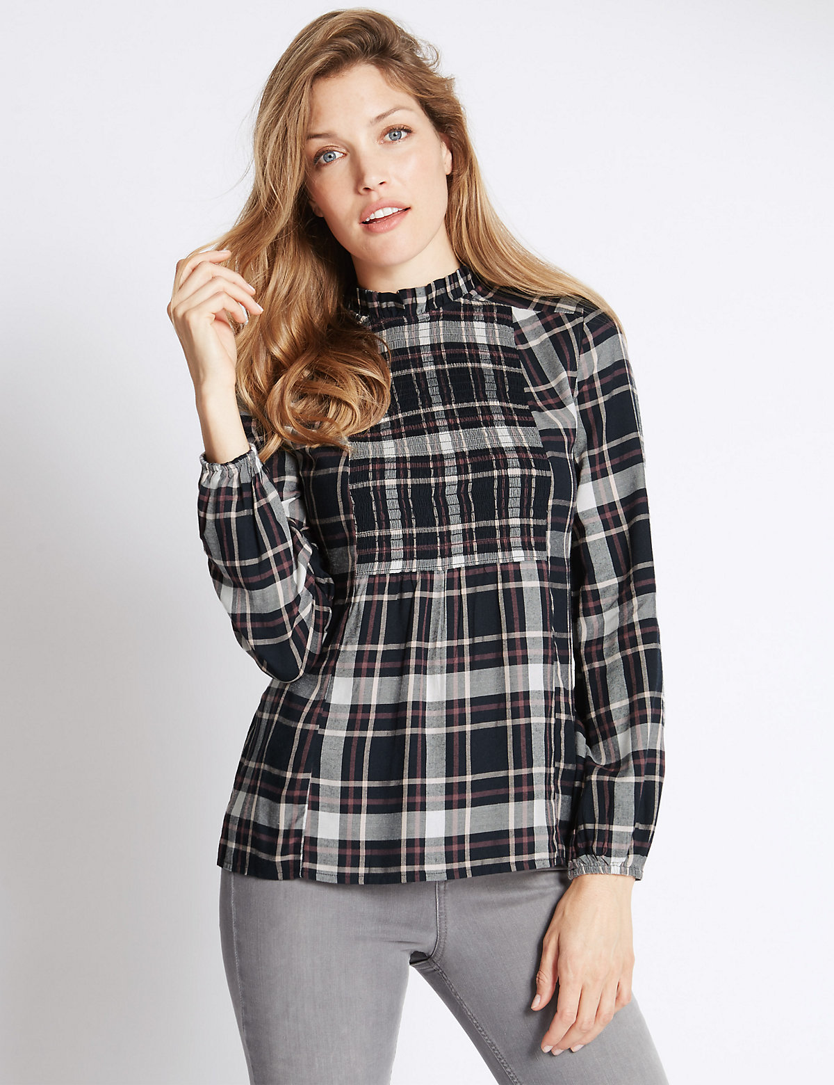 Per Una High Neck Smocked Check Blouse