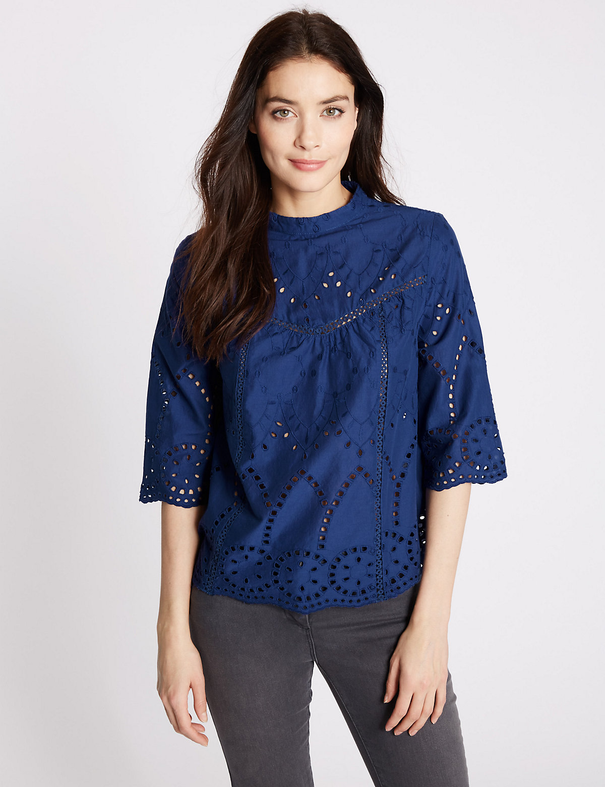 MS Collection Pure Cotton 34 Sleeve Shell Top Marks and Spencer P22501740