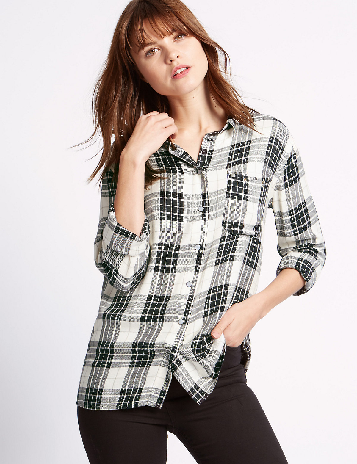 Limited Edition Checked Collared Neck Long Sleeve Blouse