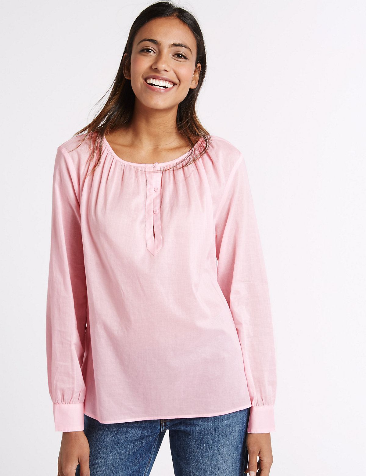 M&S Collection Pure Cotton Round Neck Long Sleeve Blouse.