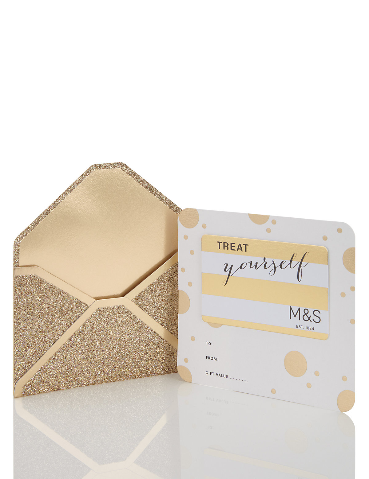 Glitter Gold Envelope Gift Card £1500