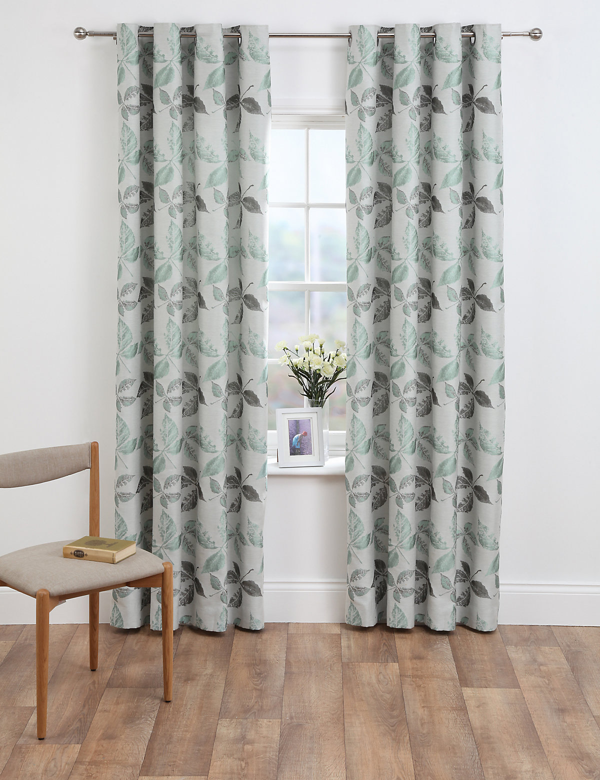 M&S Collection Leaf Jacquard Eyelet Curtain.