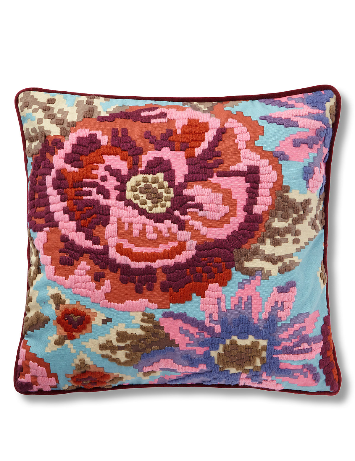 Floral Cross Stitch Cushion Pink