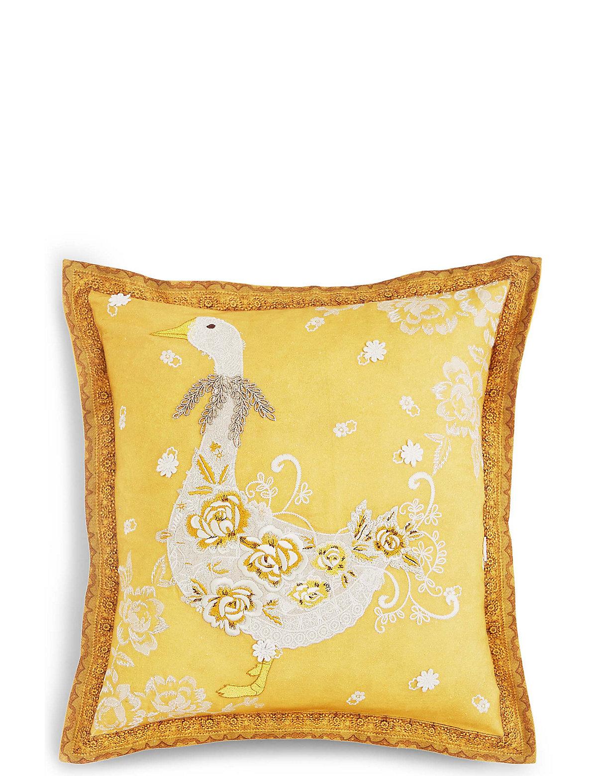 Lace Appliqué Goose Cushion.