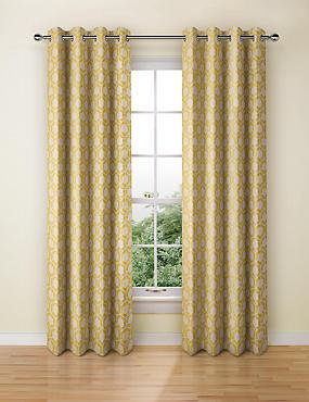 Hexagonal Geometrical Print Eyelet Curtain