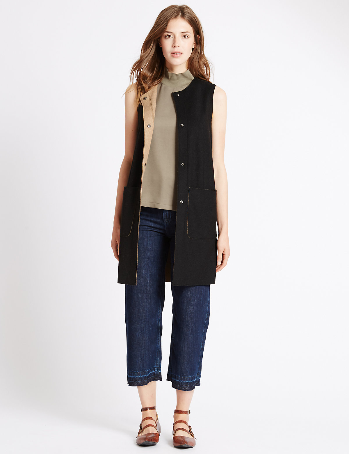 M&S Collection Double Face Sleeveless Coat