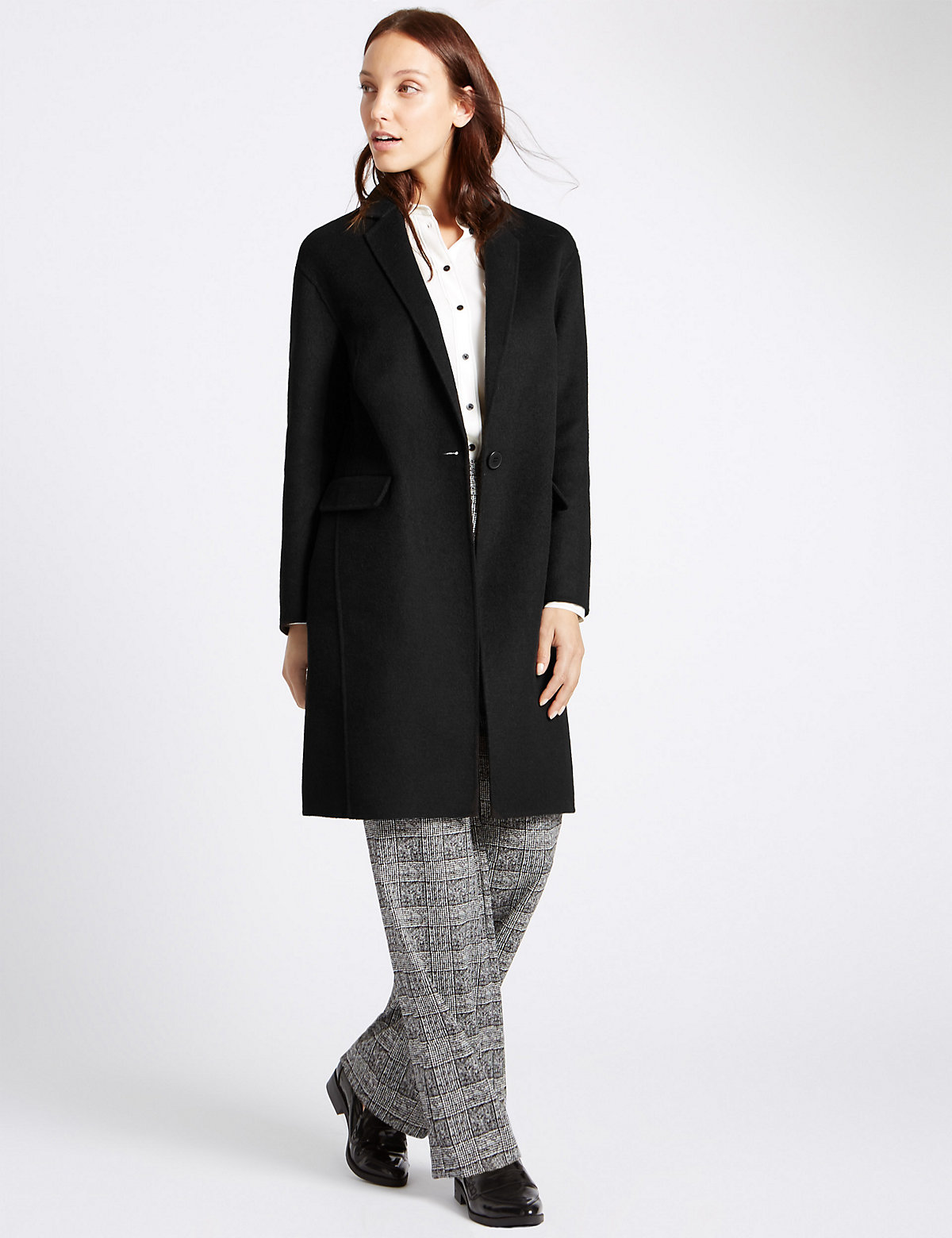 M&S Collection Collared Neck Split Wool Coat