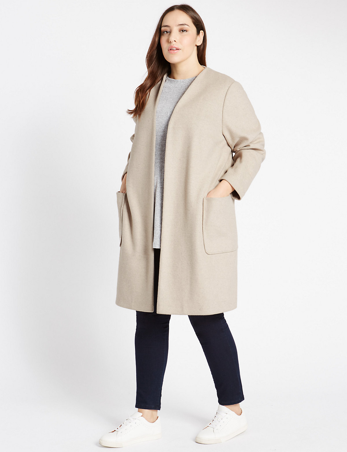 M&S Collection PLUS Double Face Blanket Coat