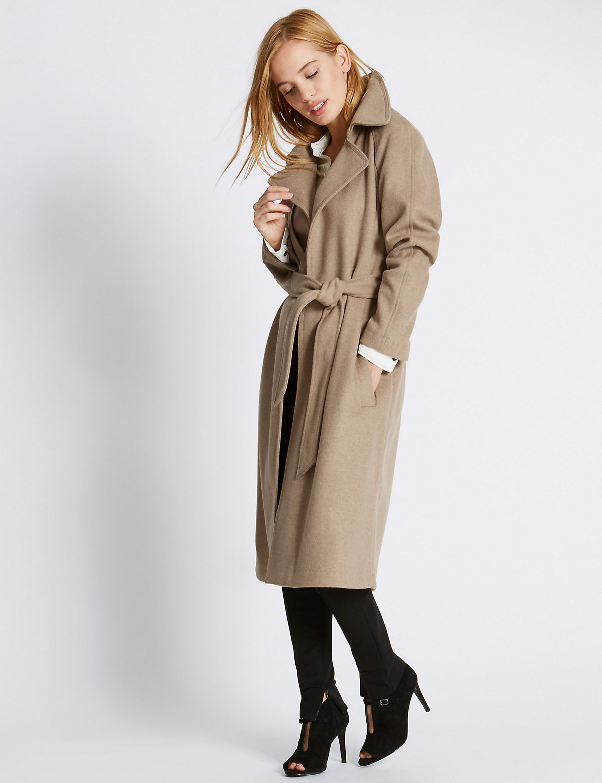 M&S Collection PETITE Trench Coat with Wool