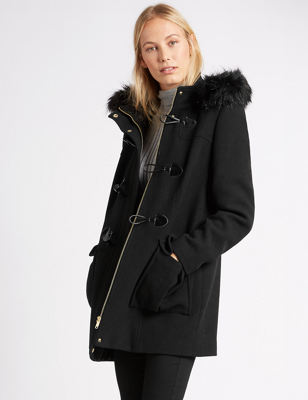M&S Collection Smart Duffle Coat with Wool