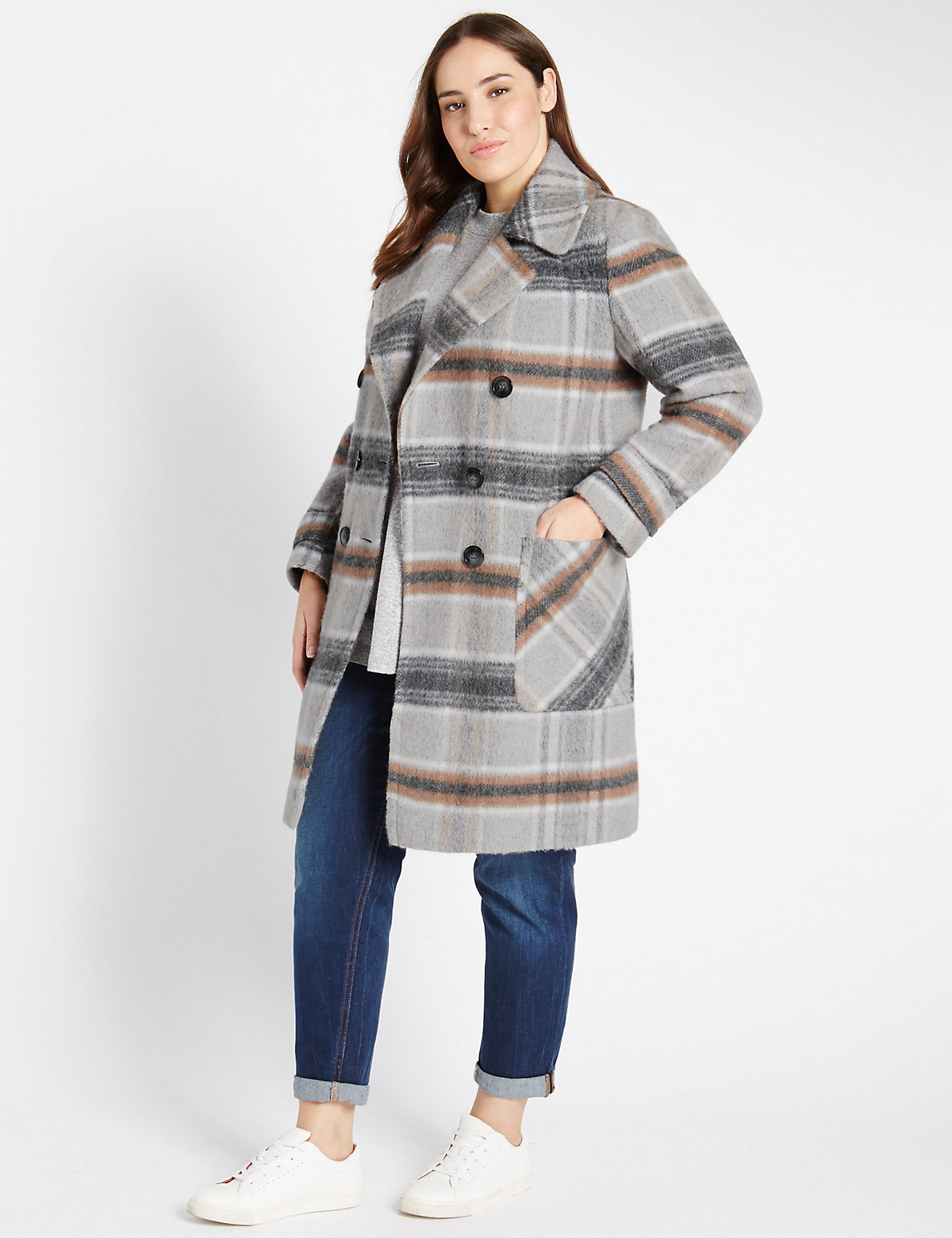M&s Collection Plus Checked Overcoat