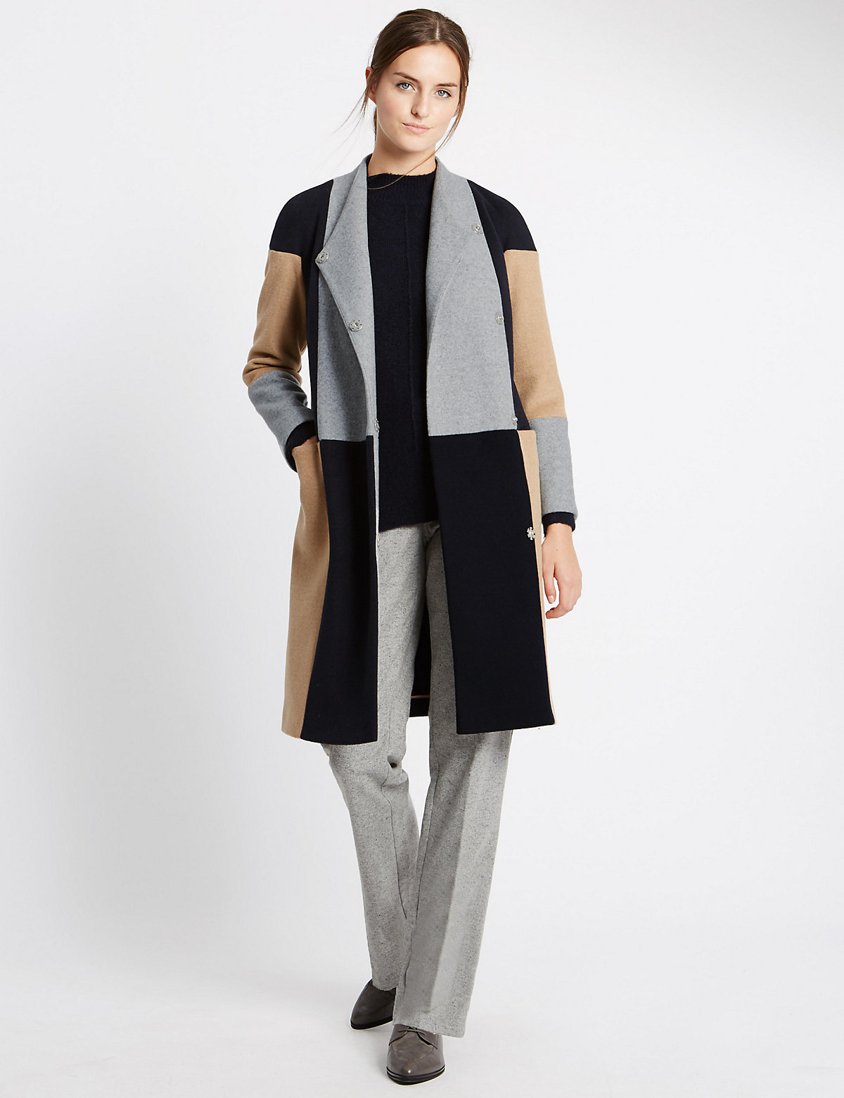 M&s Collection Colour Block Check Blanket Coat
