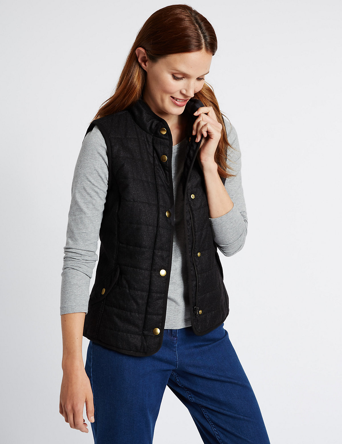 Classic Funnel Neck Gilet Coat with Stormwear