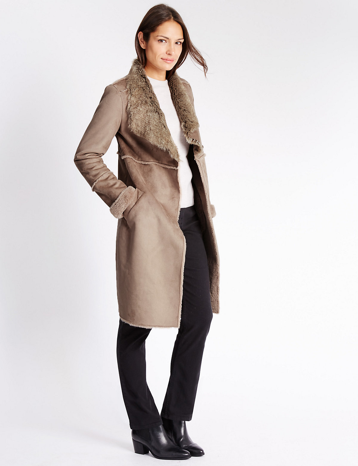 Classic Shearling Collared Neck Coat