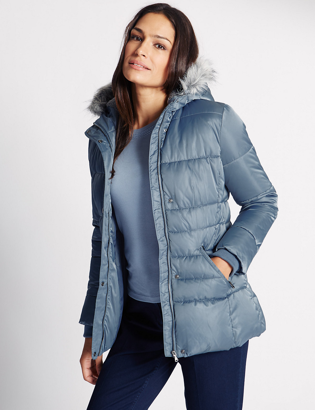 Classic Hooded Neck Quilted Overcoat