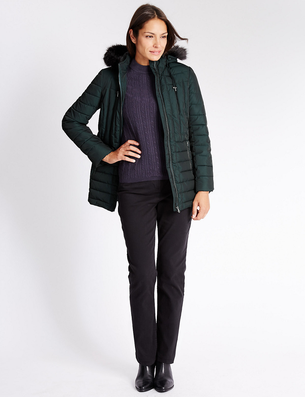 Classic Faux Fur Longline Padded & Quilted Coat