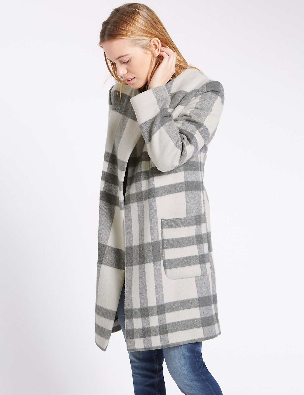 M&S Collection PETITE Reverse Double Face Blanket Coat