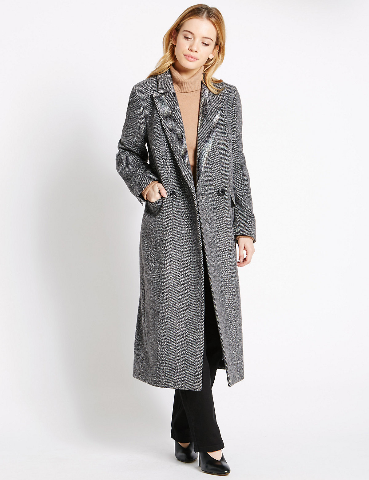 M&s Collection Petite Button Through Overcoat