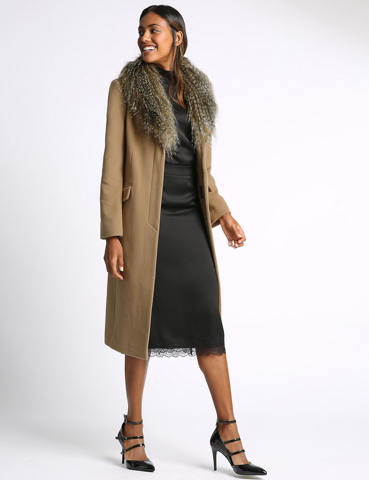 M&S Collection Cashmere Faux Fur Collar Coat