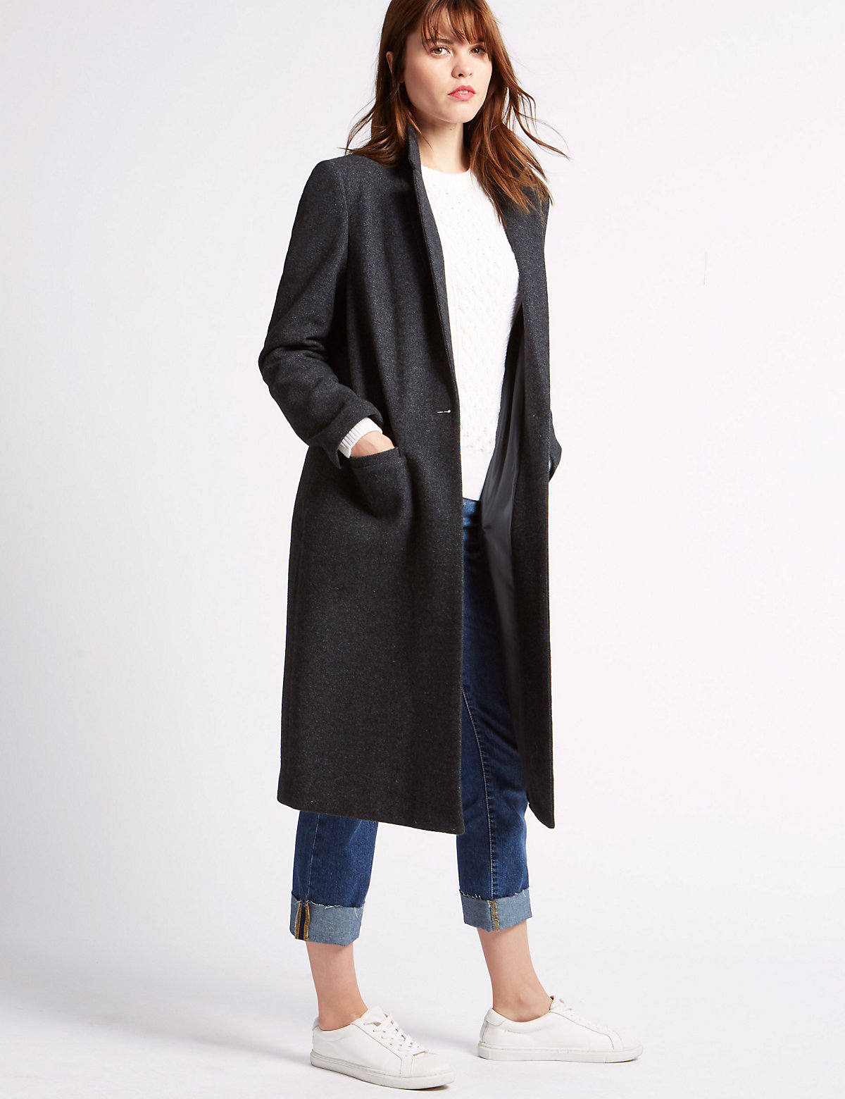 Limited Edition Single Button Coat with Wool