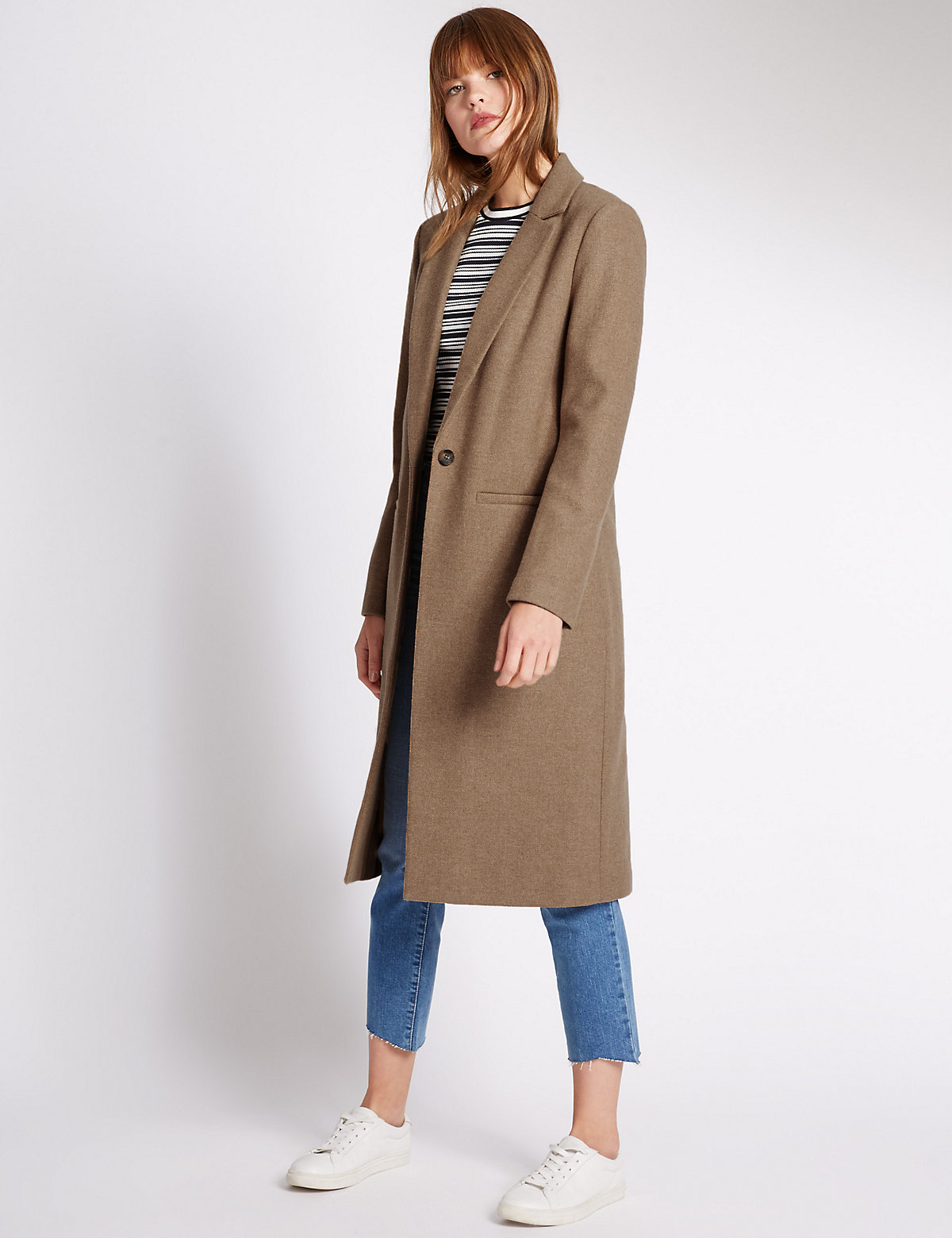 Limited Edition Collared Neck Coat with Wool