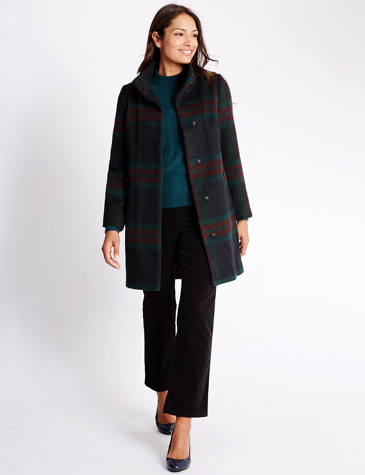 Classic Checked Overcoat With Wool