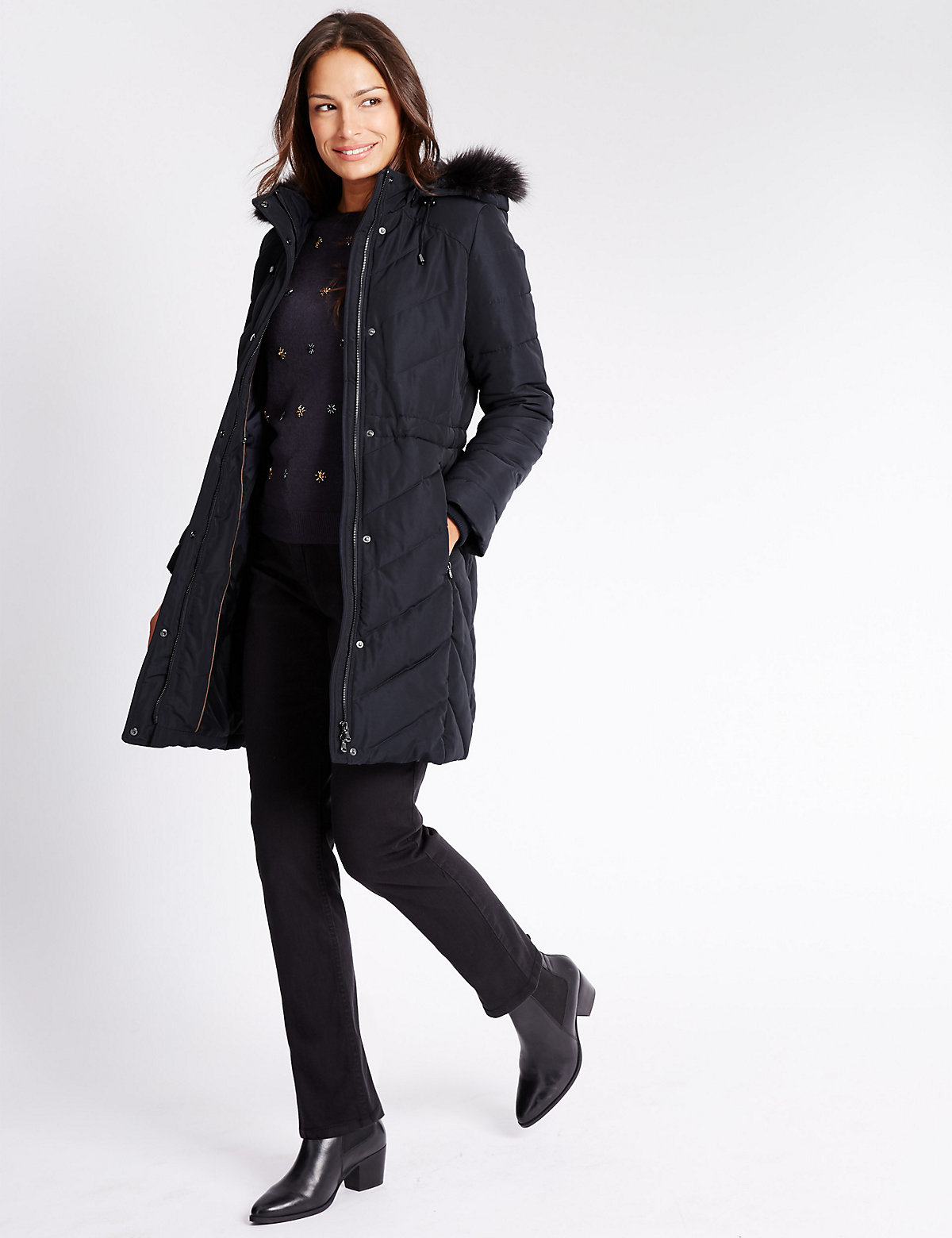 Classic Faux Fur Quilted Coat