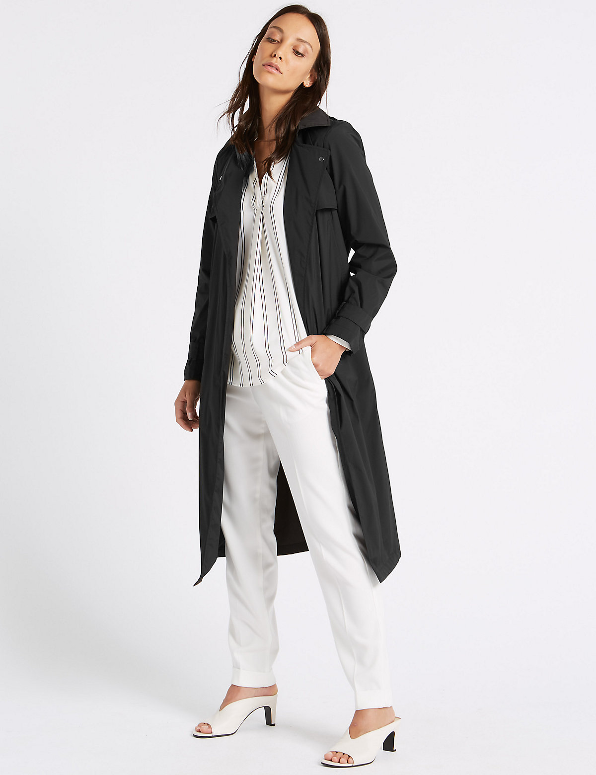 Image of M&S Collection Stretch Trench Coat with Stormwear