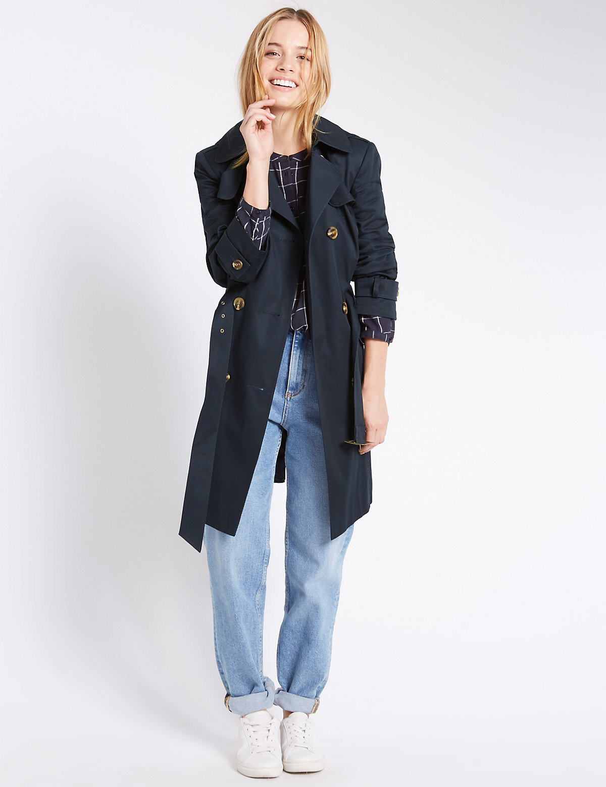 Image of M&S Collection PETITE Button Through Trench Coat