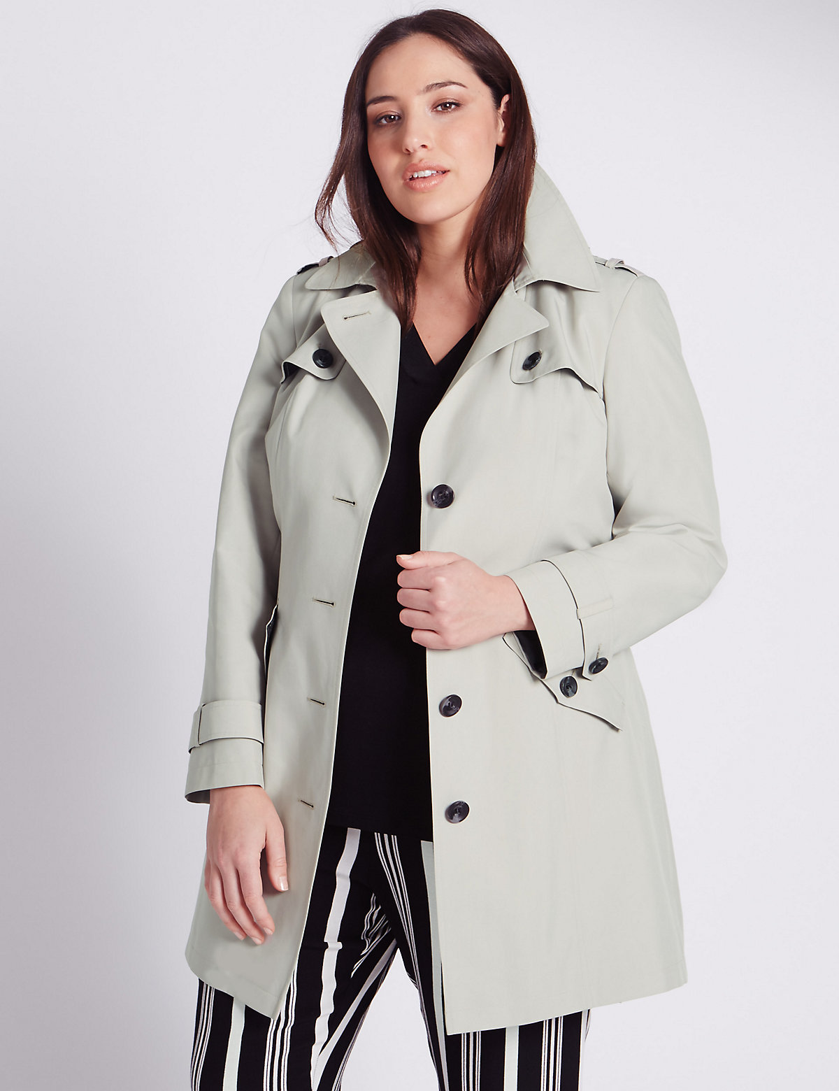M&S Collection PLUS Notch Lapel Belted Mac