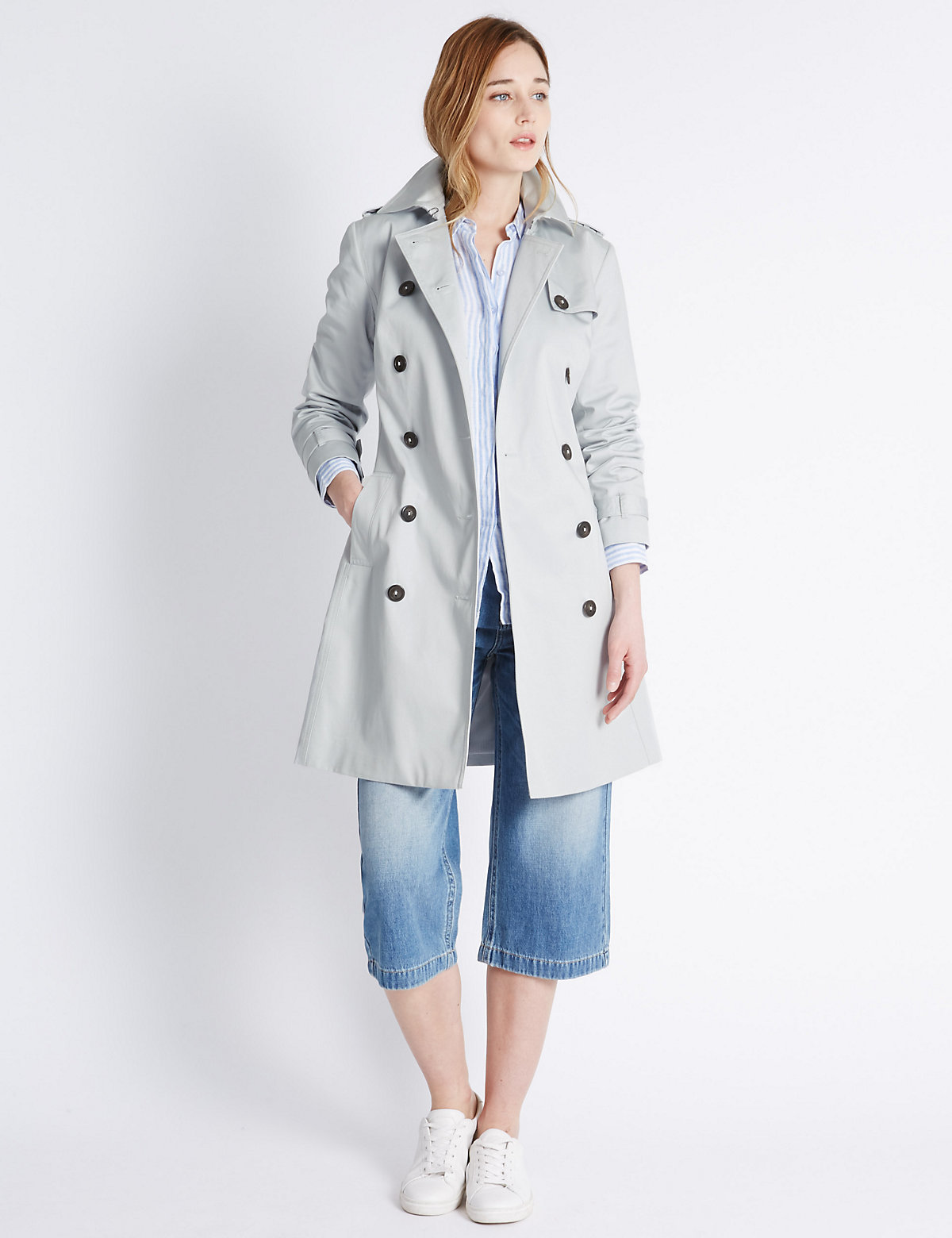 M&S Collection Pure Cotton Belted Trench Coat with Stormwear