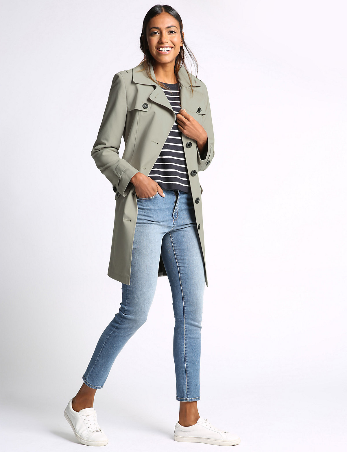 M&S Collection Collared Neck Mac with Stormwear