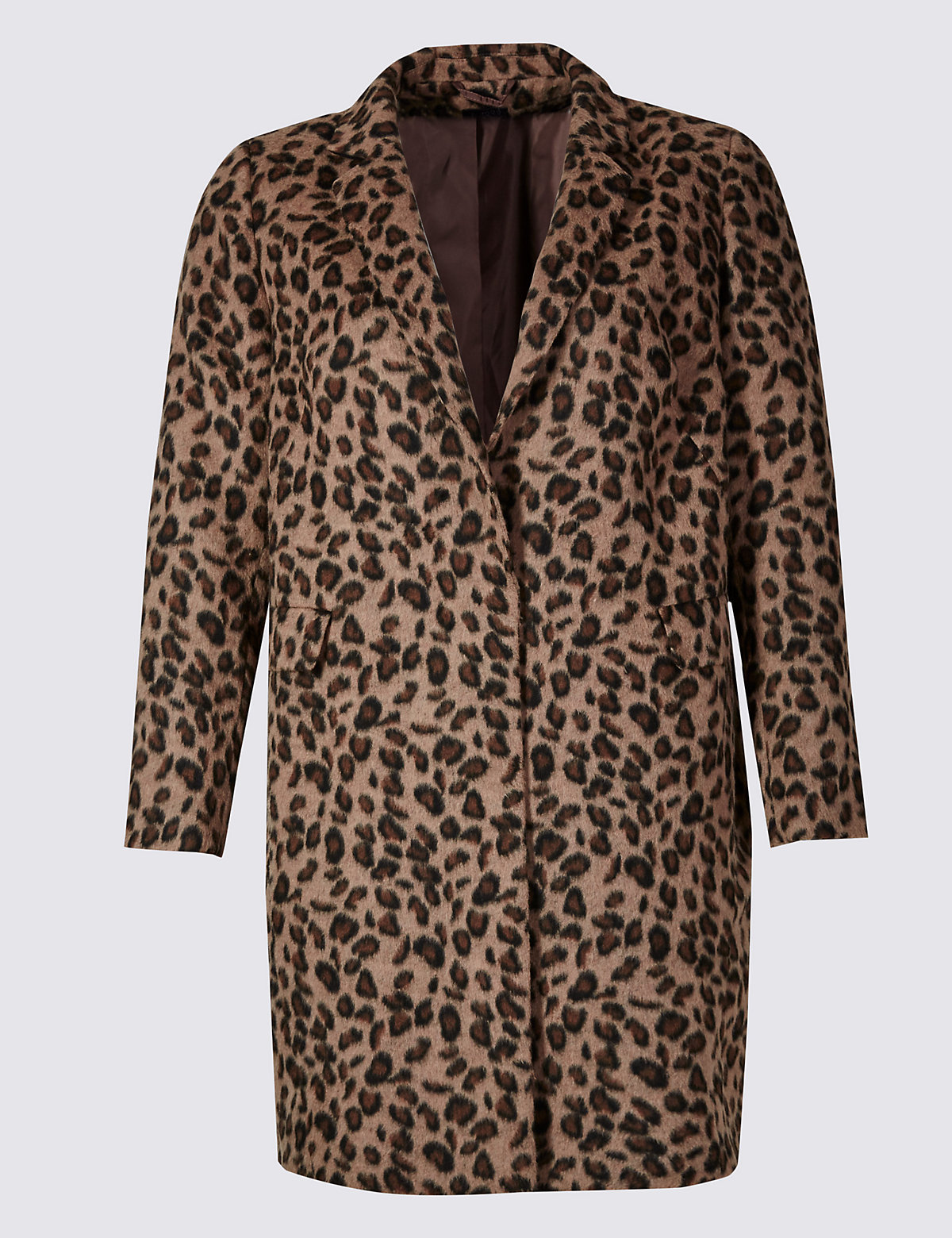 M&s Collection Animal Print Overcoat With Wool