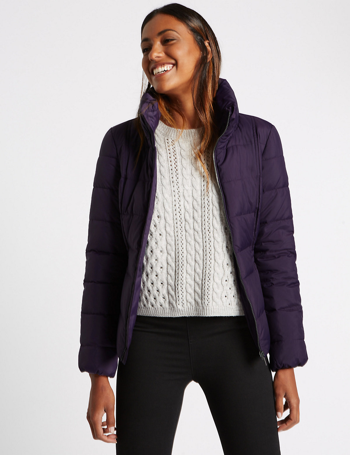 M&S Collection Funnel Neck Coat with Stormwear