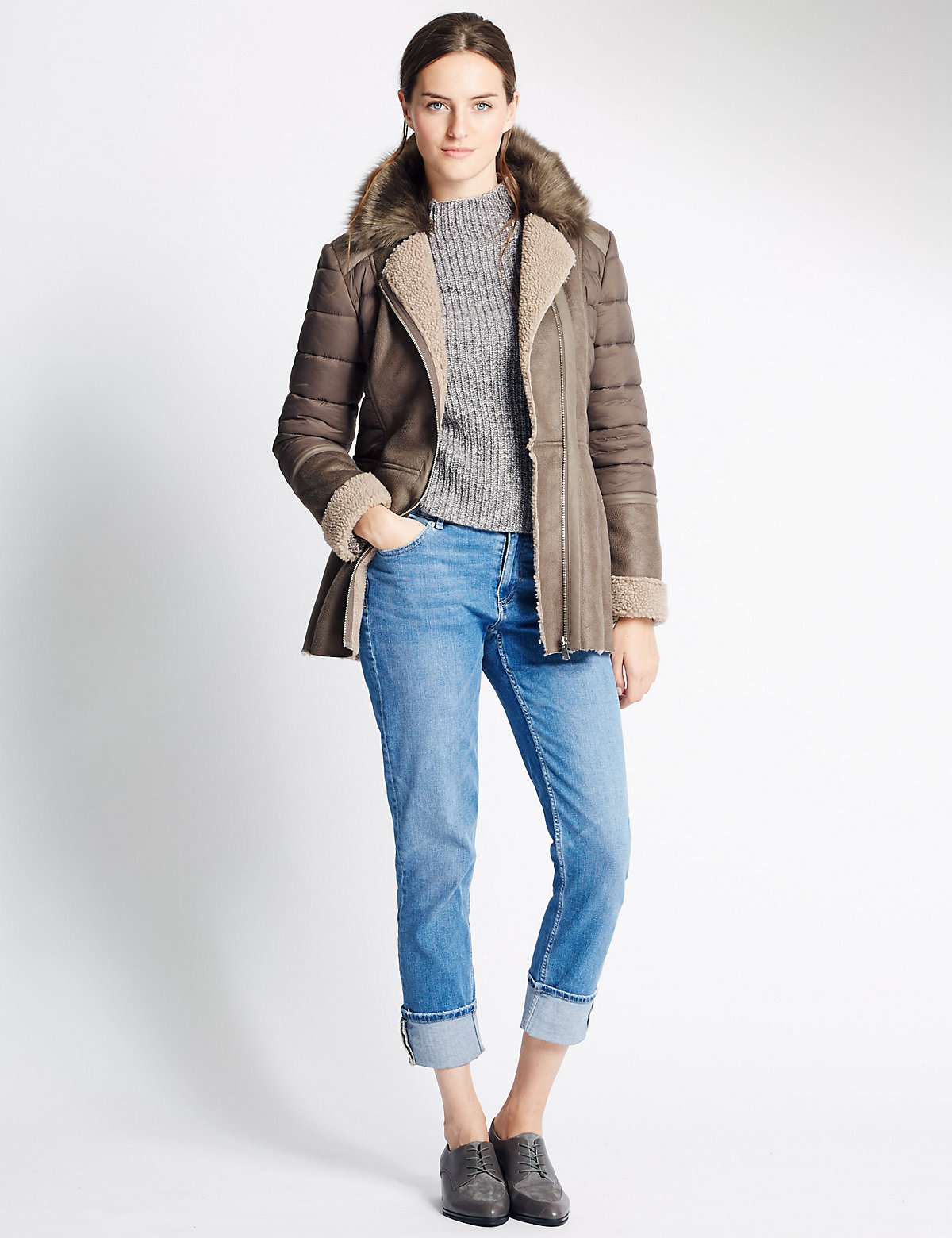 M&s Collection Faux Fur Zipped Jacket