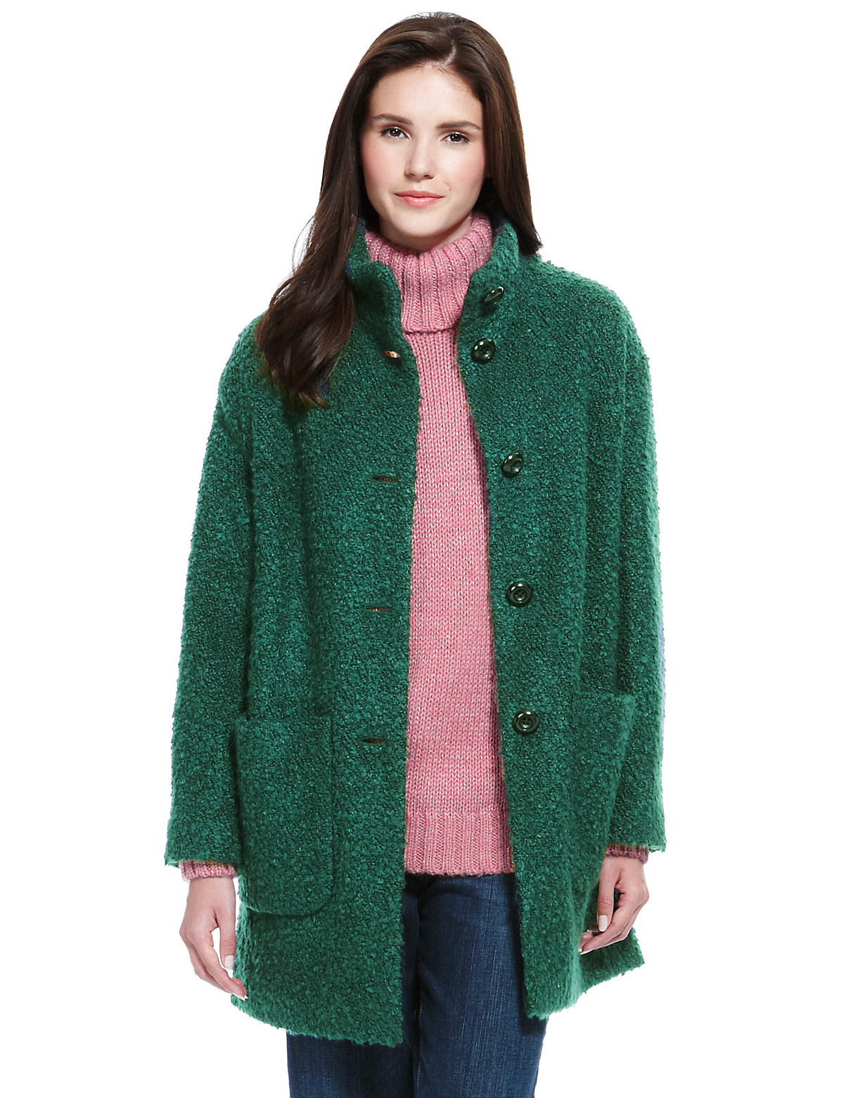 M  S Collection Buttonsafe Bouclé Funnel Neck Cocoon Coat with Wool $89.00 AT vintagedancer.com