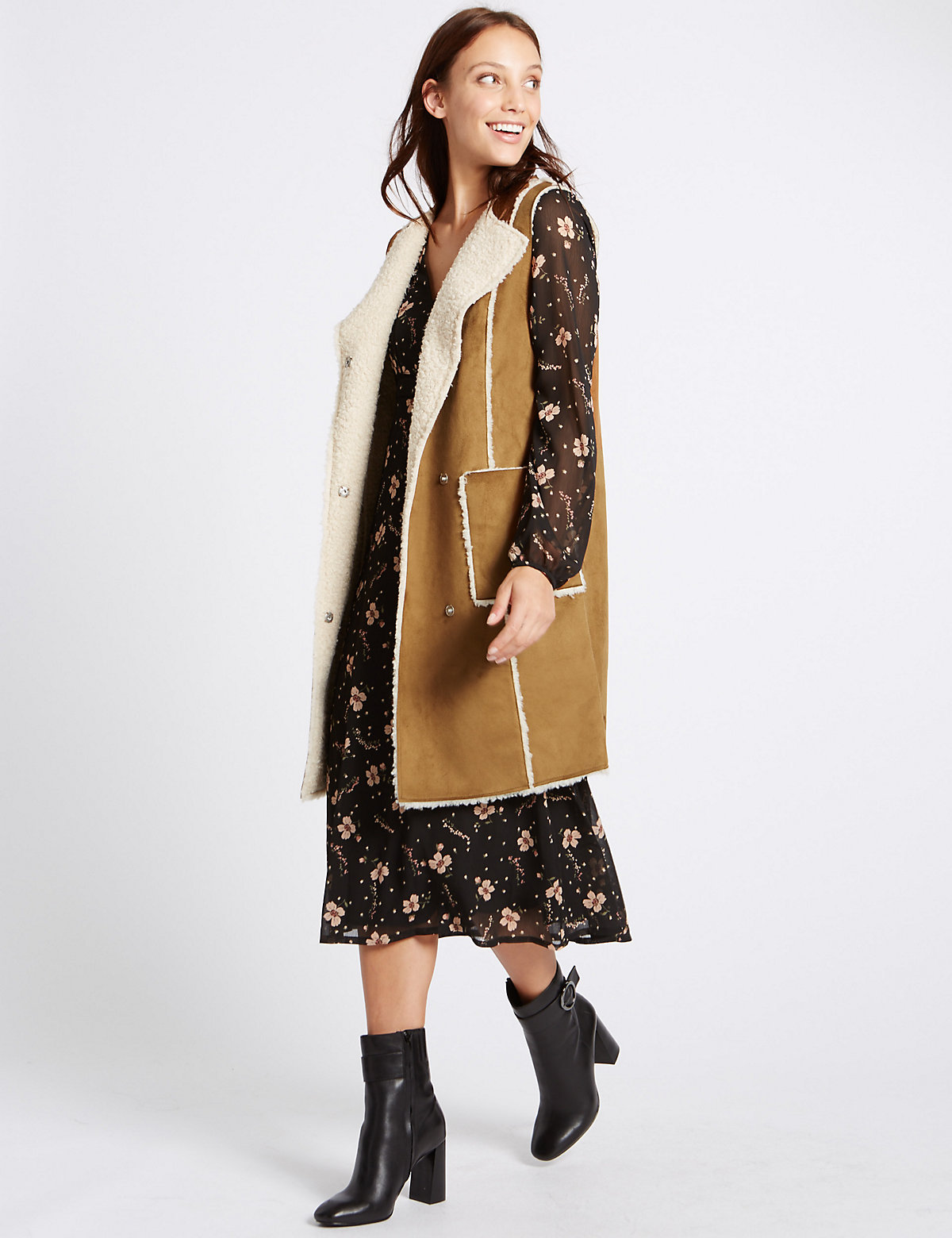 M&S Collection Shear Sleeveless Coat