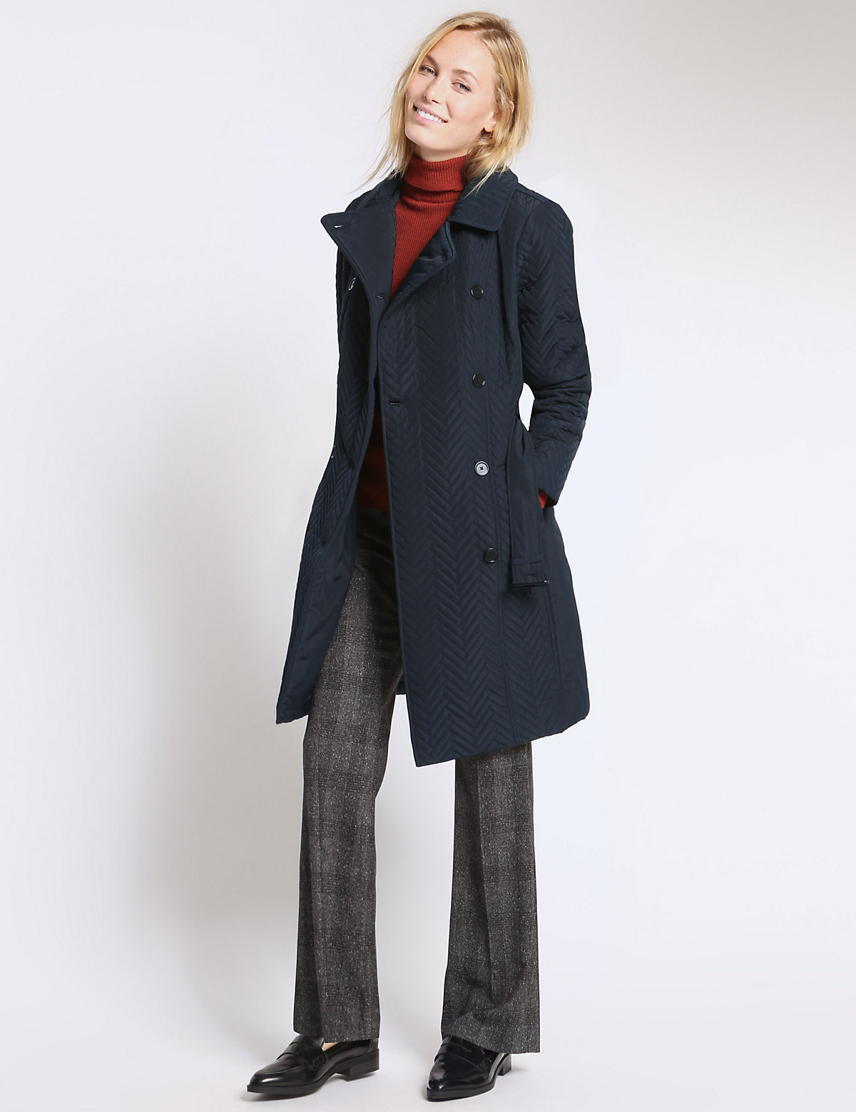 M&S Collection Double Breasted Quilted Belt Coat with Stormwear