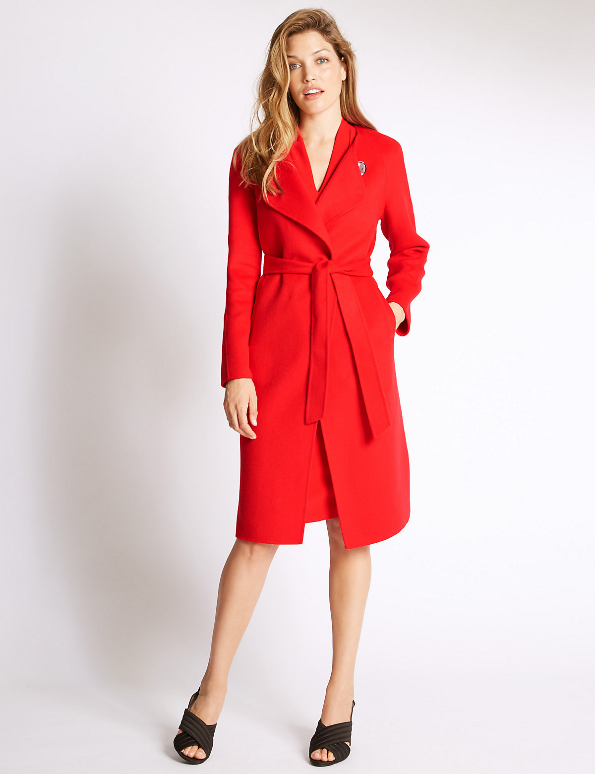 Image of Per Una Wool Blend Belted Coat with Wool