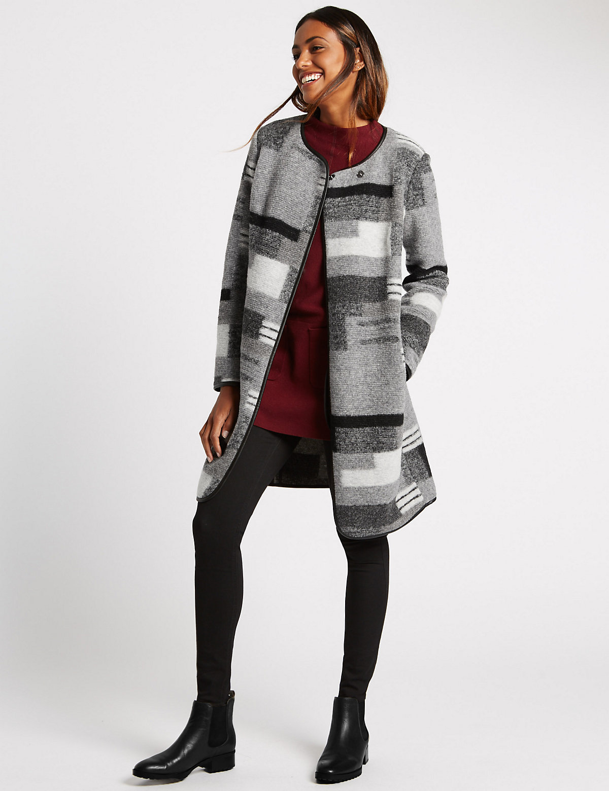 M&S Collection Wool Blend Patchwork Coat