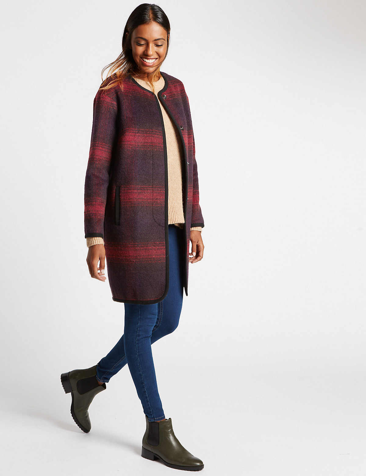 M&S Collection Crew Neck Checked Coat