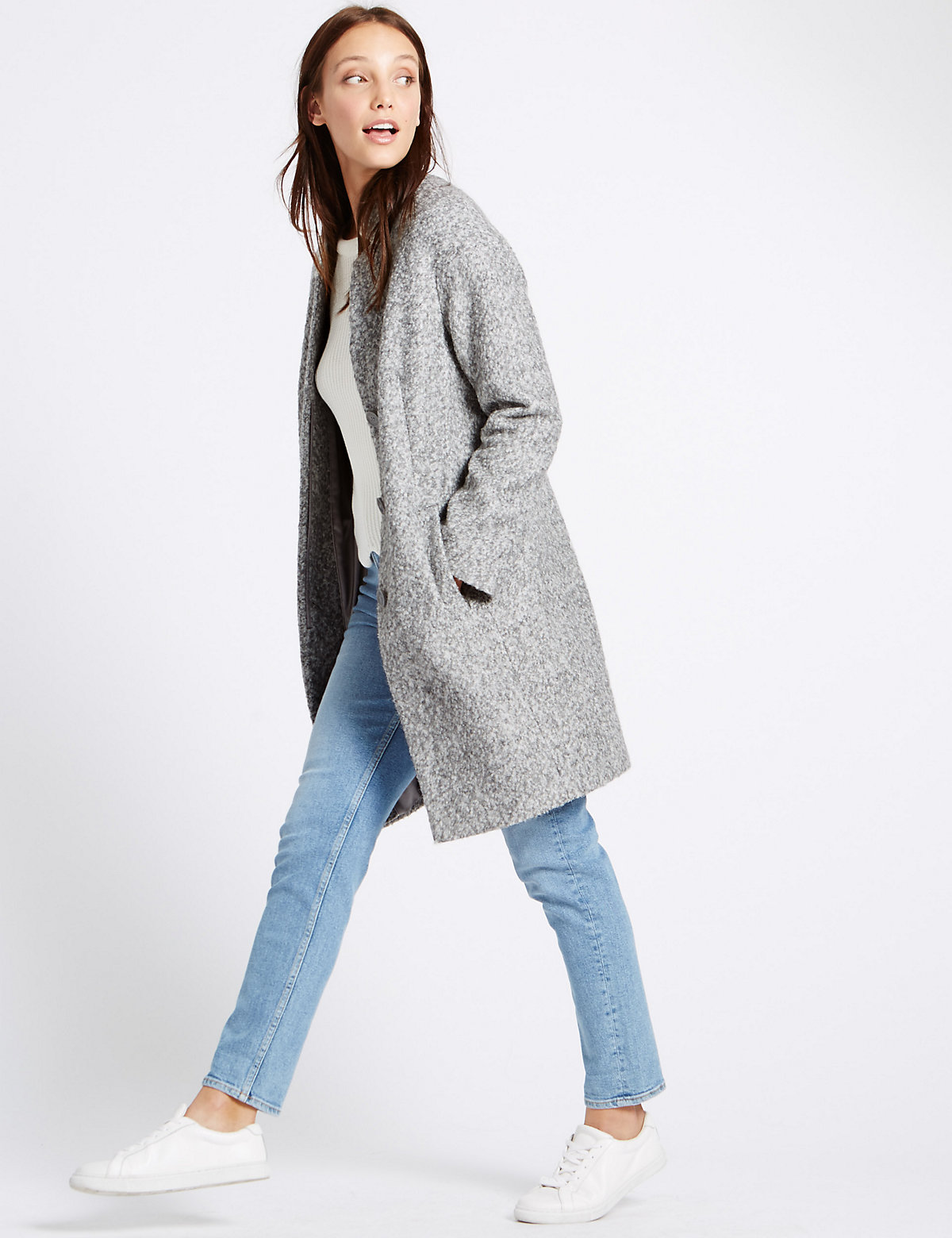 M&s Collection Boucle Notch Overcoat With Wool