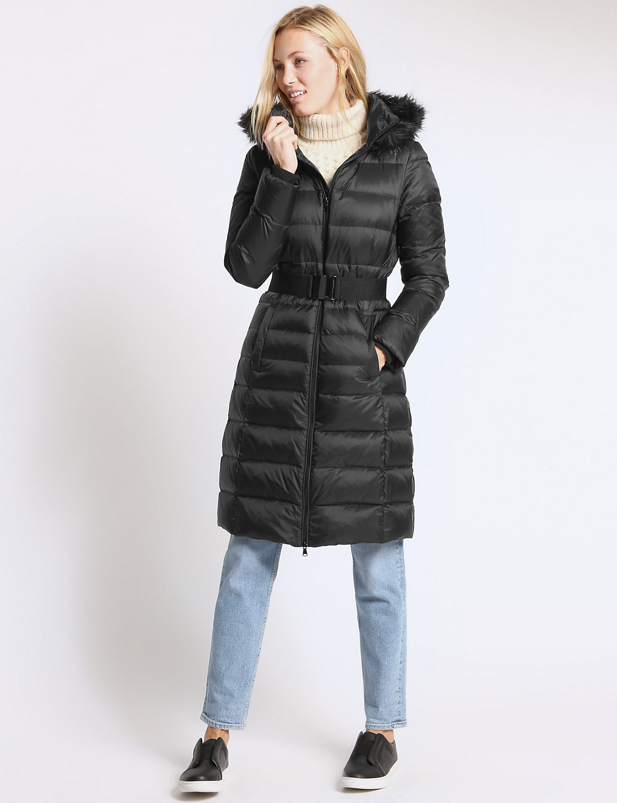 M&S Collection Down Filled Hooded Coat