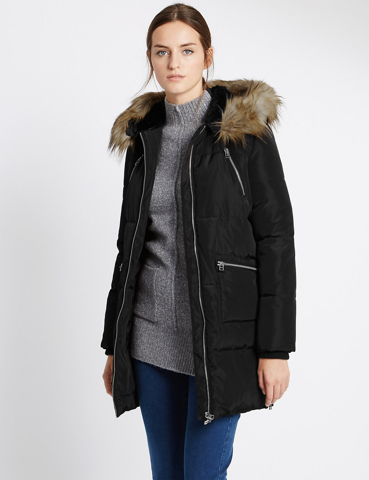 M&S Collection Faux Fur Hooded Jacket with Stormwear