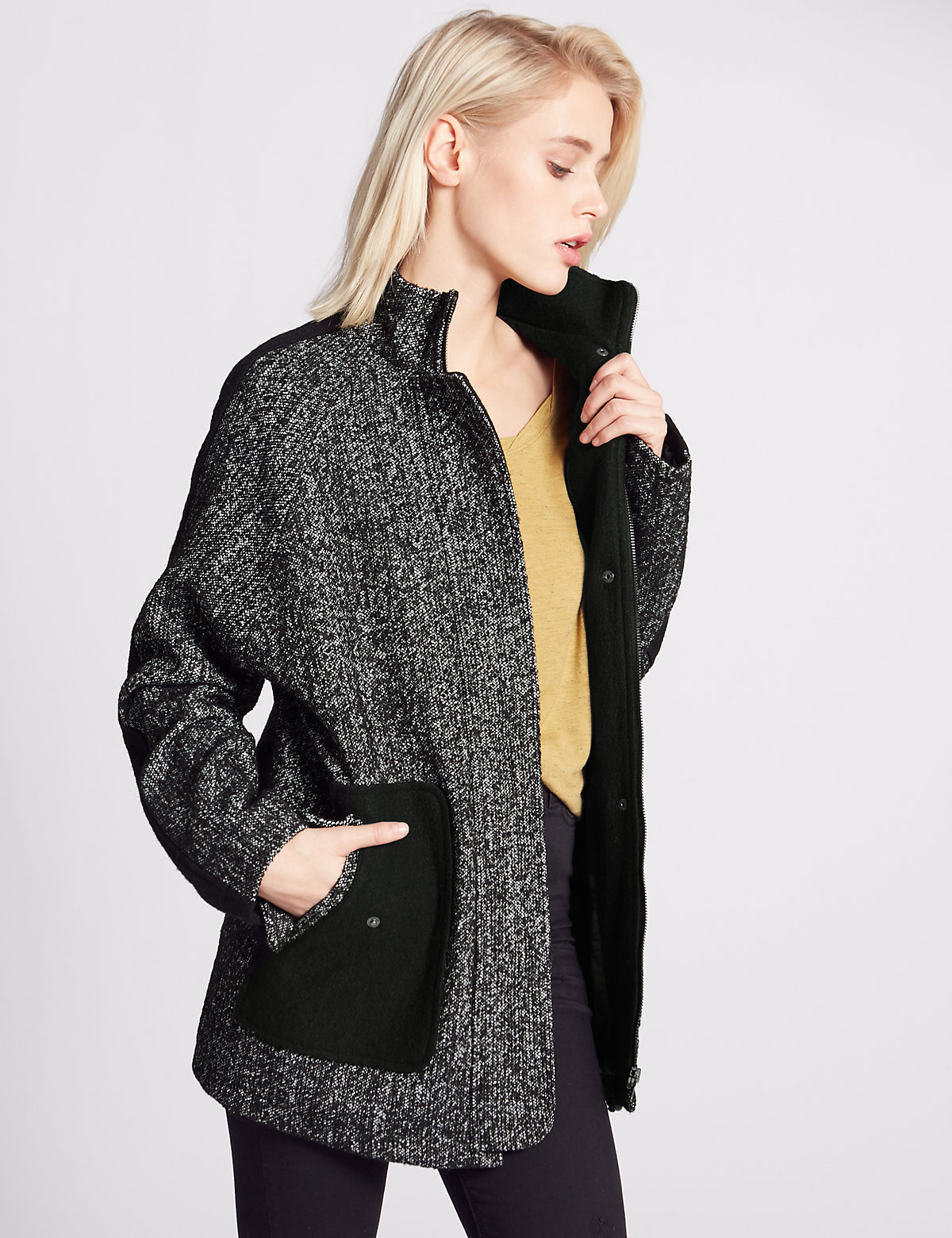 Indigo Collection Textured Funnel Neck Overcoat