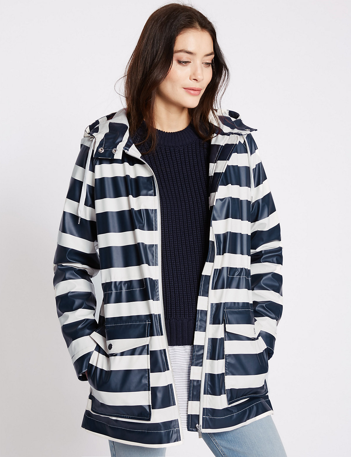 M&S Collection Striped Hooded Anorak